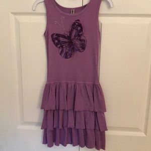 Mignone purple butterfly cotton tiered dress